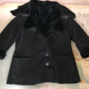 Black 100 percent genuine sheepskin jacket